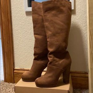 Brown Tall Boots with Heel